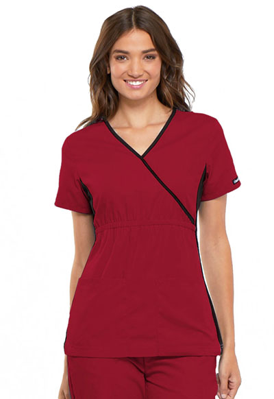 Cherokee Flexibles Women's Mock Wrap Knit Panel Top Red