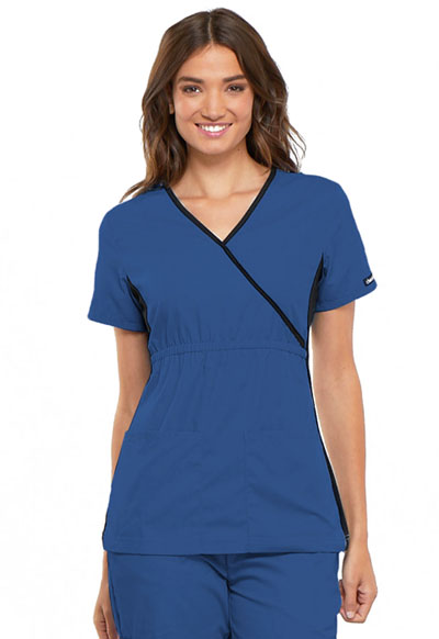 Cherokee Flexibles Women's Mock Wrap Knit Panel Top Blue