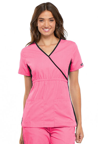 Cherokee Flexibles Women's Mock Wrap Knit Panel Top Pink