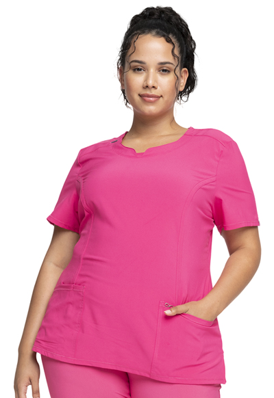Infinity Round Neck Top in Carmine Pink (Antimicrobial)