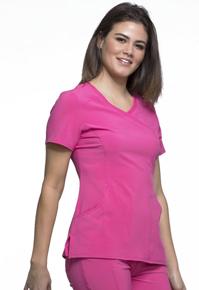ff19cb02d14 Infinity Mock Wrap Top in Carmine Pink 2625A-CPPS from Castle Uniforms