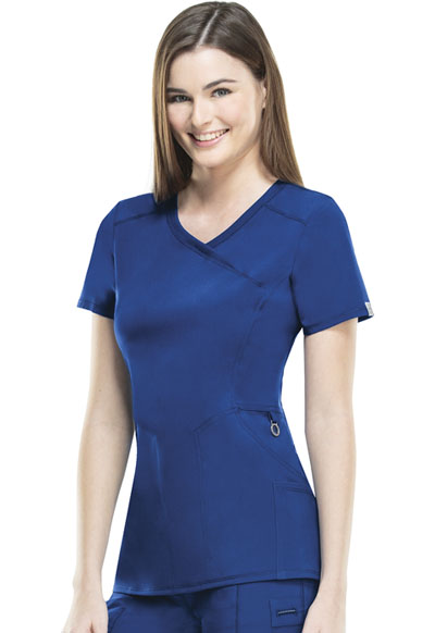 Cherokee Infinity Women's Mock Wrap Top Blue