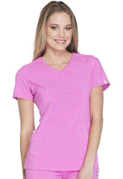 Infinity by Cherokee Women's Mock Wrap Top Pink