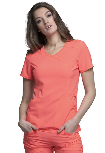 Infinity Women's Mock Wrap Top Orange