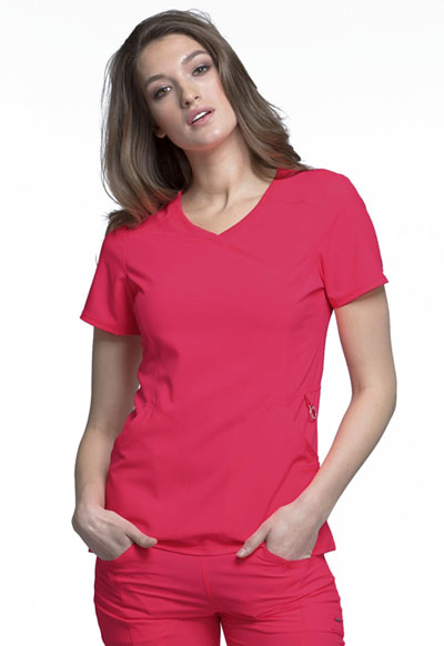 Cherokee Infinity Women's Mock Wrap Top Red