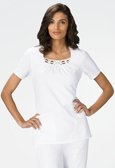 Cherokee Whites Women\'s Square Neck Top White