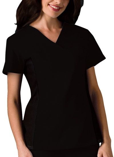 Cherokee Flexibles Women\'s V-Neck Knit Panel Top Black