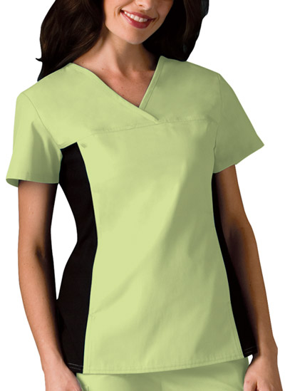 Cherokee Flexibles Women\'s V-Neck Knit Panel Top Green