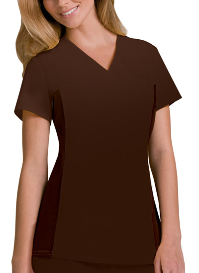 Cherokee Flexibles Women's V-Neck Knit Panel Top Brown