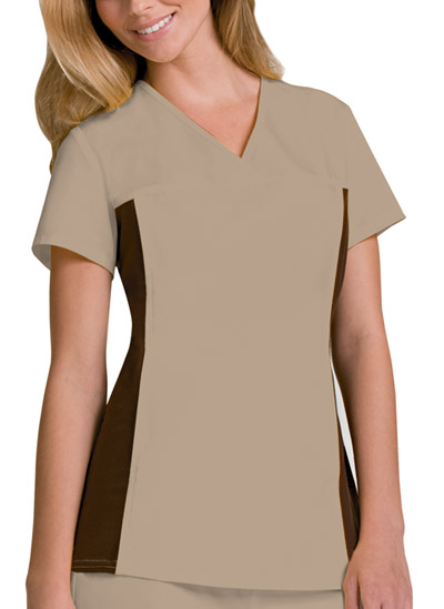 Cherokee Flexibles Women's V-Neck Knit Panel Top Khaki