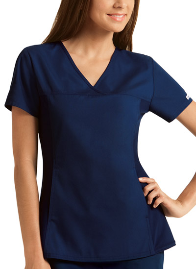 Flexibles Women V-Neck Knit Panel Top Blue
