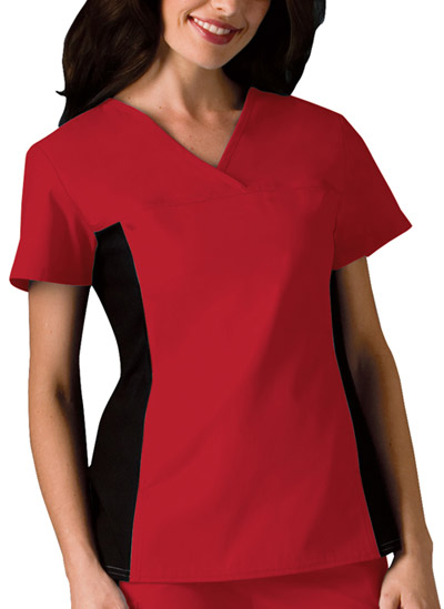 Cherokee Flexibles Women's V-Neck Knit Panel Top Red
