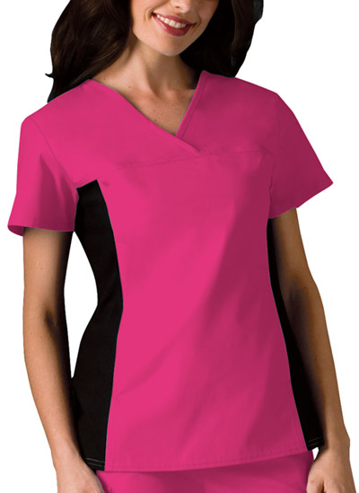 Cherokee Flexibles Women's V-Neck Knit Panel Top Pink