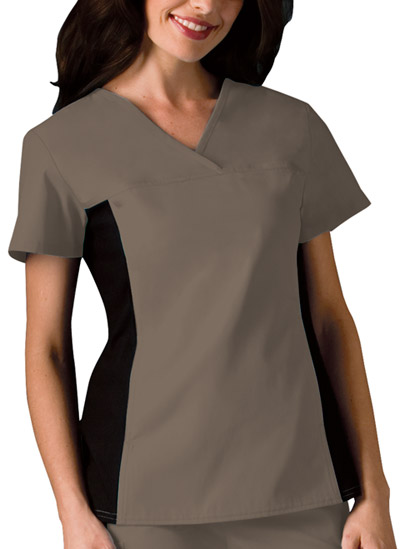 Cherokee Flexibles Women's V-Neck Knit Panel Top Neutral