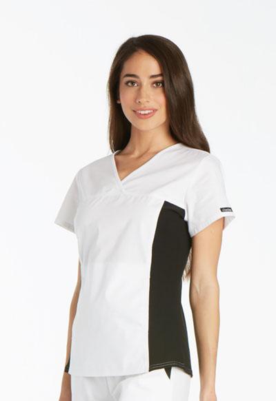 Flexibles Women's V-Neck Knit Panel Top White