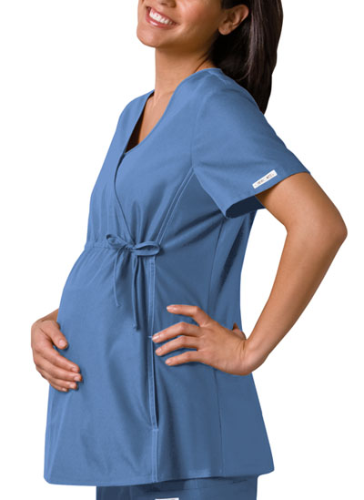 Cherokee Flexibles Women's Maternity Mock Wrap Knit Panel Top Blue