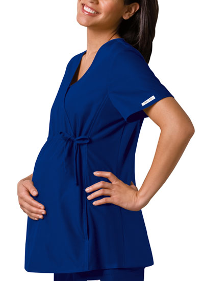 Cherokee Flexibles Women\'s Maternity Mock Wrap Knit Panel Top Blue