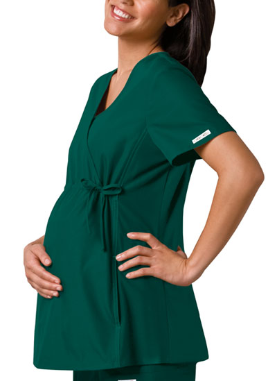 Cherokee Flexibles Women's Maternity Mock Wrap Knit Panel Top Green