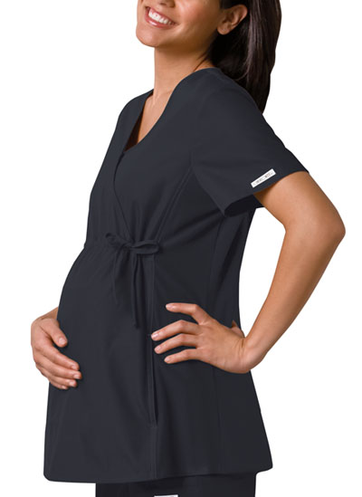 Flexibles Women's Maternity Mock Wrap Knit Panel Top Black