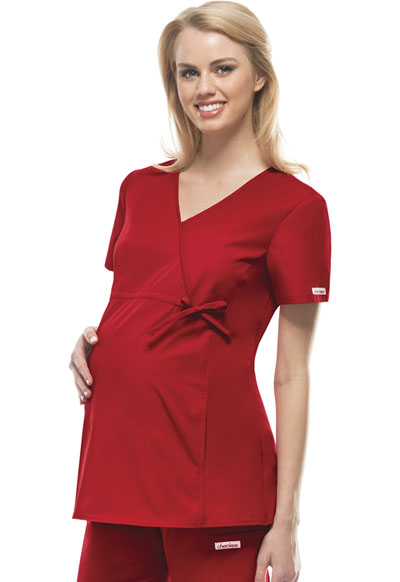 Flexibles Women Maternity Mock Wrap Knit Panel Top Red