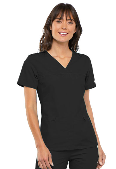 Cherokee Flexibles Women's V-Neck Knit Panel Top Black