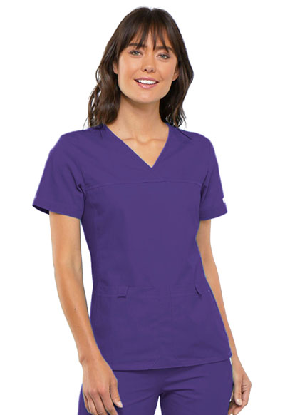Cherokee Flexibles Women's V-Neck Knit Panel Top Purple