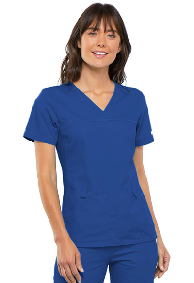 Flexibles Women's V-Neck Knit Panel Top Blue