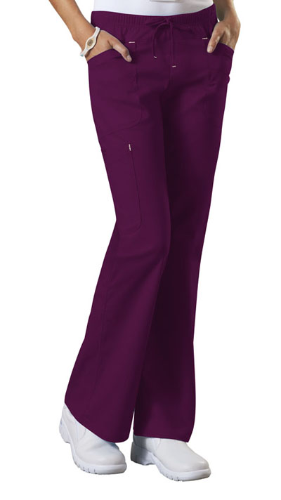 Cherokee Workwear WW Core Stretch Women's Mid Rise Drawstring Cargo Pant Purple