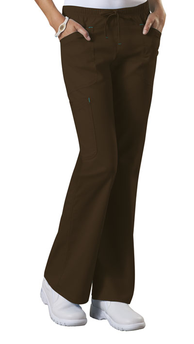 Cherokee Workwear WW Core Stretch Women's Mid Rise Drawstring Cargo Pant Brown
