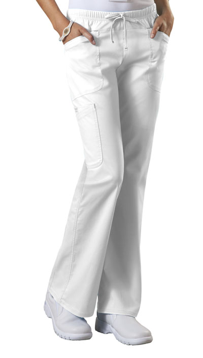 Cherokee Workwear WW Core Stretch Women's Mid Rise Drawstring Cargo Pant White