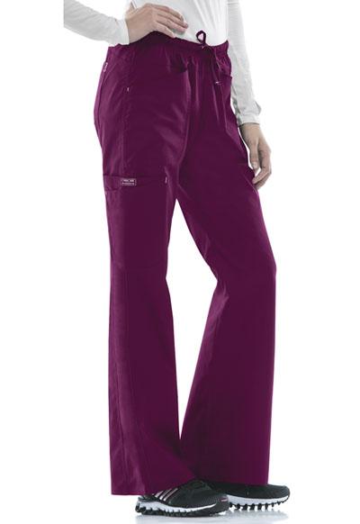 Cherokee Workwear WW Core Stretch Women's Mid Rise Drawstring Cargo Pant Purple