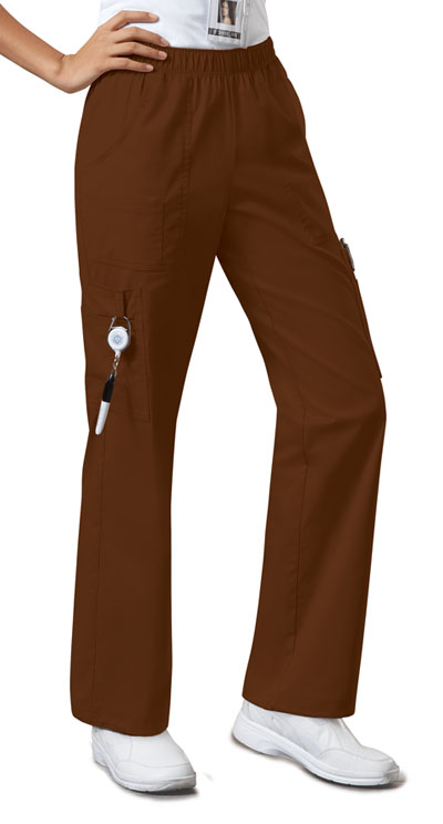 Cherokee Workwear WW Premium Women's Mid Rise Pull-On Pant Cargo Pant Brown