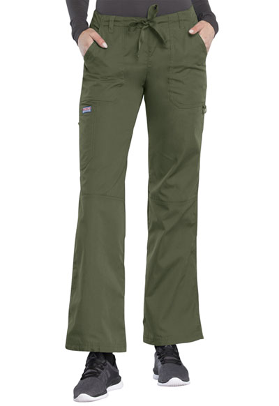 Cherokee Workwear WW Originals Women's Low Rise Drawstring Cargo Pant Green