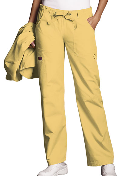 Cherokee Workwear WW Originals Women's Low Rise Drawstring Cargo Pant Yellow