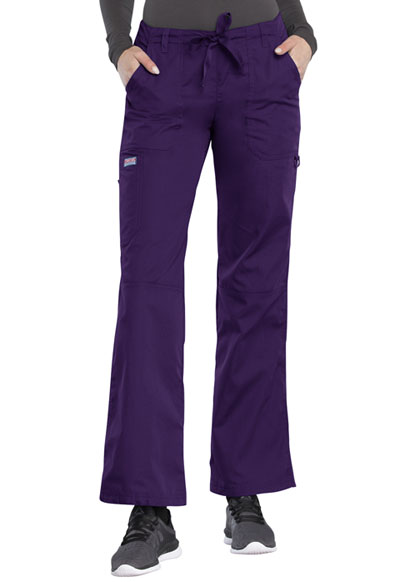Cherokee Workwear WW Originals Women's Low Rise Drawstring Cargo Pant Purple
