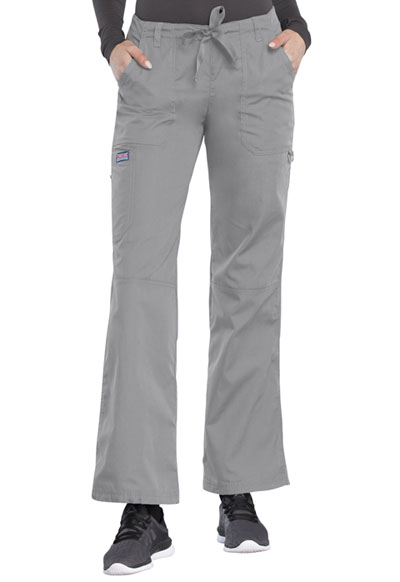 Cherokee Workwear WW Originals Women's Low Rise Drawstring Cargo Pant Gray