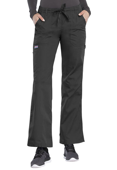 Cherokee Workwear WW Originals Women's Low Rise Drawstring Cargo Pant Grey