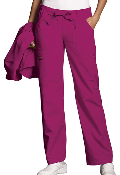 Cherokee Workwear WW Originals Women's Low Rise Drawstring Cargo Pant Red