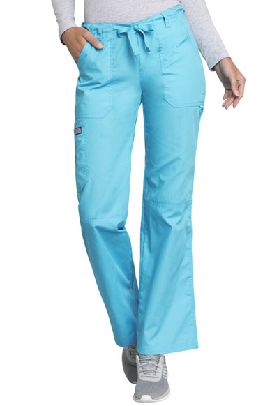 Cherokee Workwear WW Originals Women's Low Rise Drawstring Cargo Pant Blue