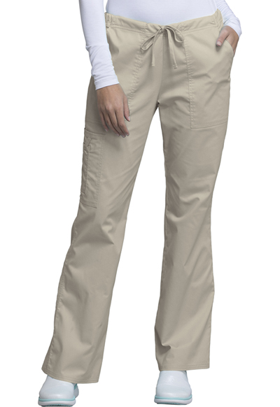 Cherokee Workwear WW Core Stretch Women's Mid Rise Drawstring Cargo Pant Khaki