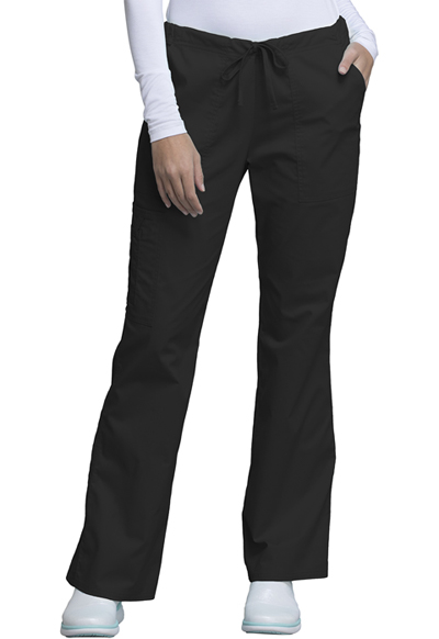 Cherokee Workwear WW Core Stretch Women's Mid Rise Drawstring Cargo Pant Black
