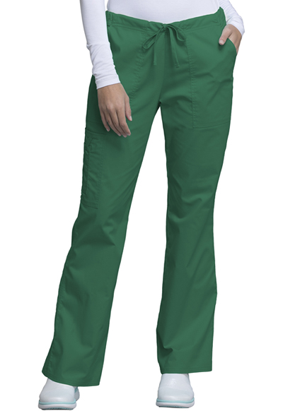 Cherokee Workwear WW Core Stretch Women's Mid Rise Drawstring Cargo Pant Green