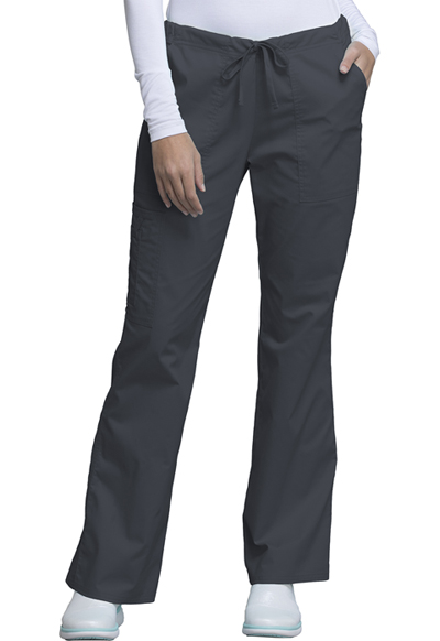 Cherokee Workwear WW Core Stretch Women's Mid Rise Drawstring Cargo Pant Grey