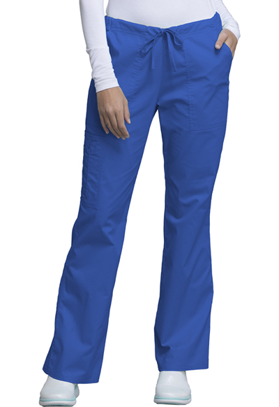 Cherokee Workwear WW Core Stretch Women's Mid Rise Drawstring Cargo Pant Blue