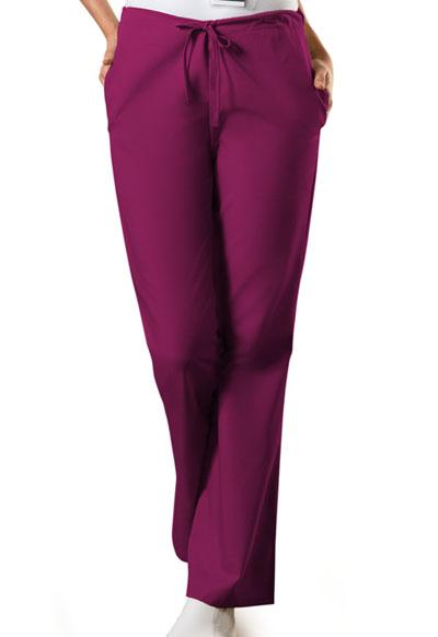 Cherokee Workwear NaturalRise Flare Leg Drawstring Pant Petite 4101P WINW Wine