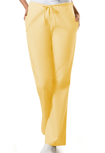 Cherokee Workwear WW Originals Women's Natural Rise Flare Leg Drawstring Pant Yellow