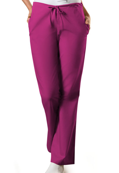 Cherokee Workwear WW Originals Women's Natural Rise Flare Leg Drawstring Pant Pink