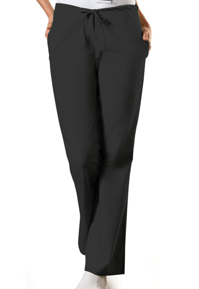WW Originals Women's Natural Rise Flare Leg Drawstring Pant Black