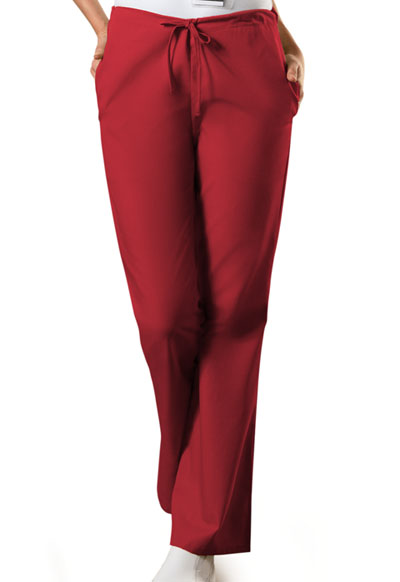 Cherokee Workwear WW Originals Women's Natural Rise Flare Leg Drawstring Pant Red