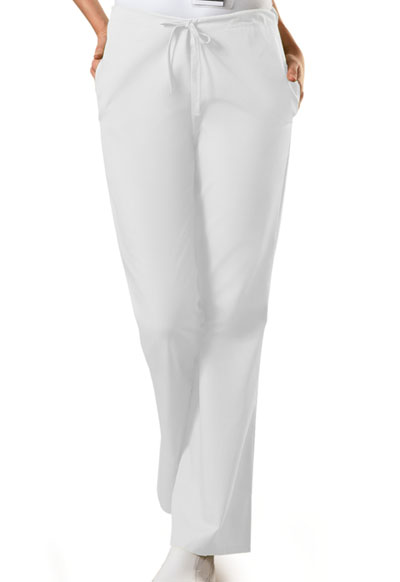 WW Originals Women's Natural Rise Flare Leg Drawstring Pant White